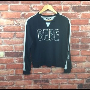 BEBE sequin logo contrast  panel pullover size M
